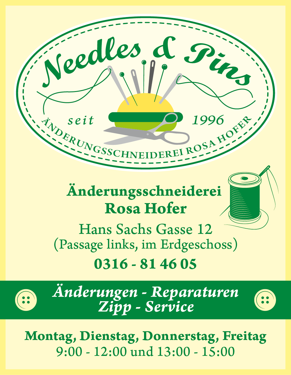 needles pins Logo Plakataufsteller